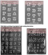 Greek Letters roman letter chocolate candy, and numbers and letters chocolate candy mold with © molding Instructions