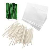 "Baking Addict 100 Cake Pop Treat Bag Sets Metallic Twist Ties, Lollipop Sticks, Clear Cello Favor Bags, 4"" W,... N4"