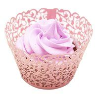 PONATIA 50 Vine Filigree Lace Cupcake Wrapper Wraps Liner Wedding Party Cake Decoartion (Pink) N18