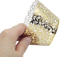 PONATIA 50 Vine Filigree Lace Cupcake Wrapper Wraps Liner Wedding Party Cake Decoartion (Pink) N19