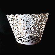 PONATIA 50 Vine Filigree Lace Cupcake Wrapper Wraps Liner Wedding Party Cake Decoartion (Pink) N23