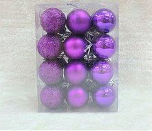 24Pcs Glitter Christmas Balls Baubles Xmas Tree Ornament Christmas Decoration Color : Purple