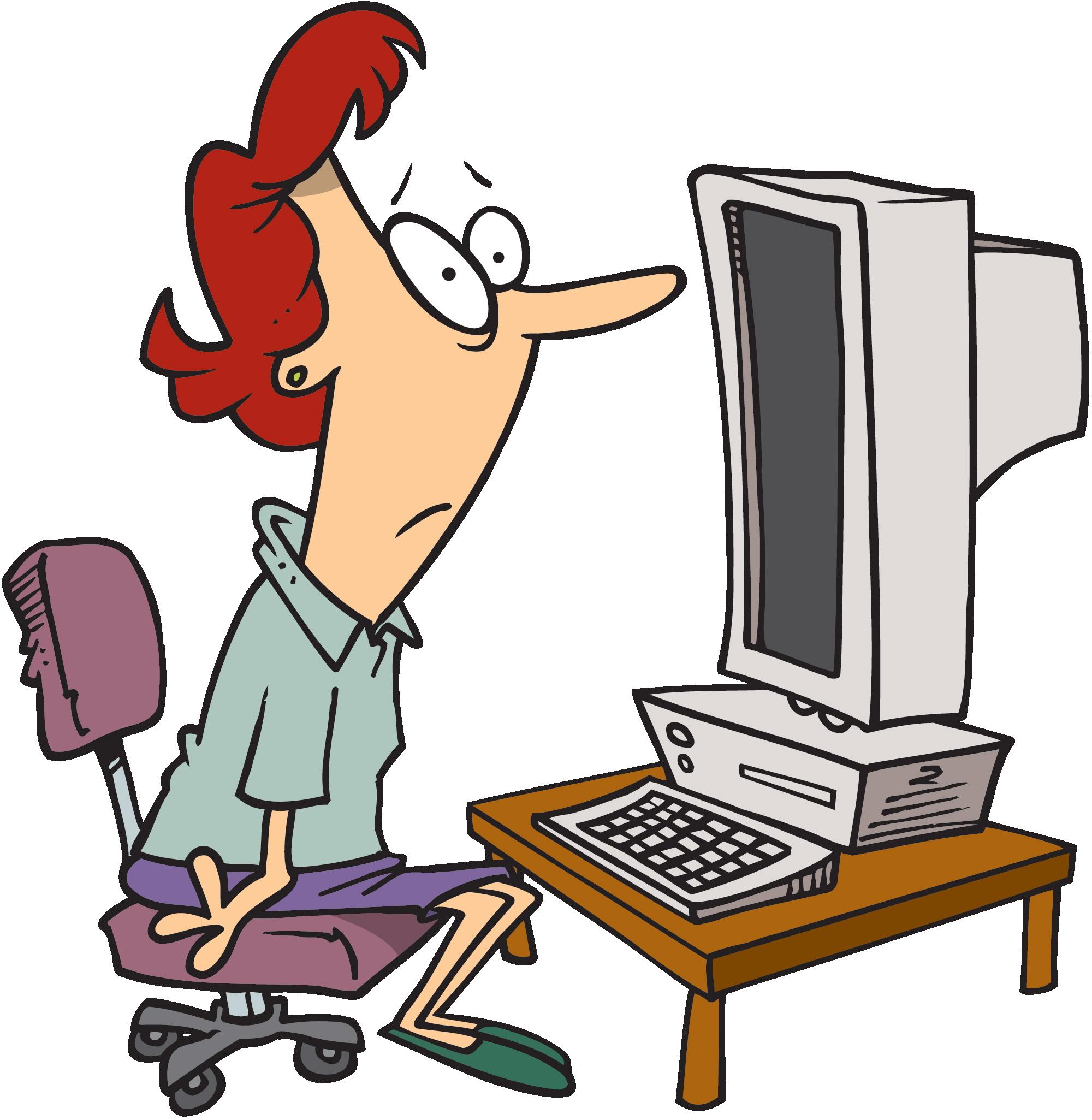 Cartoon Person At Computer Drawing Free Image
