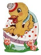 painted duckling in easter egg