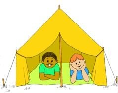 painted children in a yellow tent