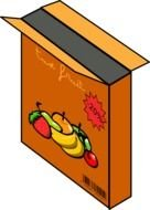 brown box with fruits as a graphic illustration