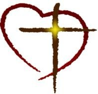 shining Cross With Heart outline, Clip Art