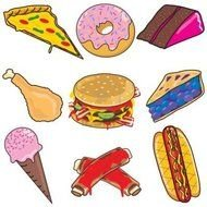clip art with delicious unhealthy food