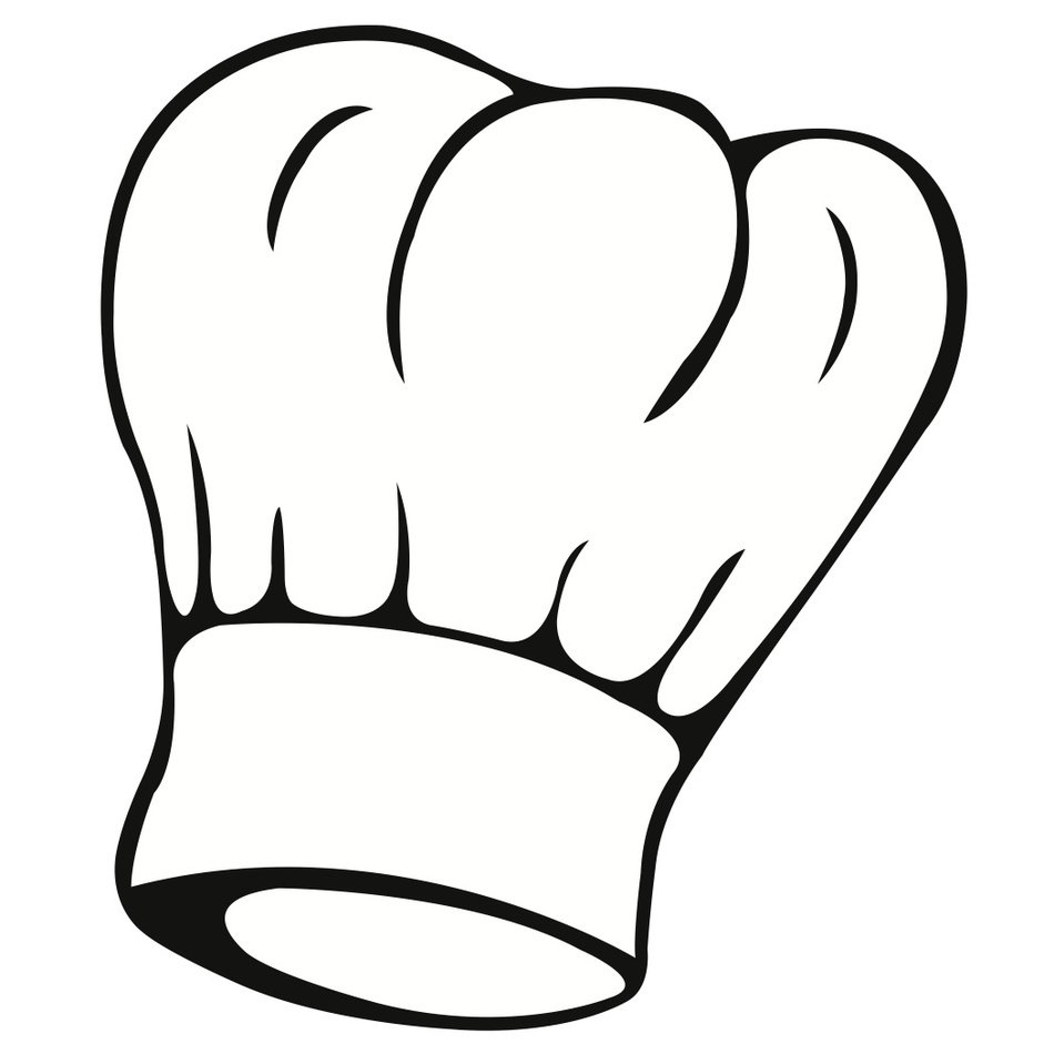 Black And White Drawing Of The Chef Hat Clipart