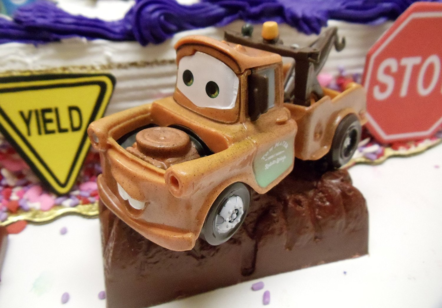 Superb Cars 14 Piece Birthday Cake Topper Set Featuring Tow Mater Sarge Funny Birthday Cards Online Bapapcheapnameinfo