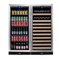 KingsBottle 2-Zone Wine and Beverage Combo Refrigerator, Holds 300 Cans and 98 Bottles, Stainless Steel with Glass... N4
