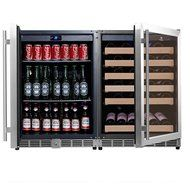 KingsBottle 2-Zone Wine and Beverage Combo Refrigerator, Holds 300 Cans and 98 Bottles, Stainless Steel with Glass... N5