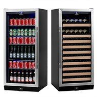KingsBottle 2-Zone Wine and Beverage Combo Refrigerator, Holds 300 Cans and 98 Bottles, Stainless Steel with Glass... N6
