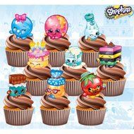 Shopkins Birthday Party Pack - Edible Stand Up Cup Cake Toppers (Pack of 36) N2