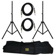 1 - Heavy-Duty Pro Audio Speaker Stand & 1/4'' Cable Kit, 2 speaker stands, Black anodized stands telescope up...