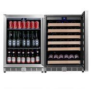 KingsBottle 2-Zone Wine and Beverage Combo Refrigerator, Holds 300 Cans and 98 Bottles, Stainless Steel with Glass... N12