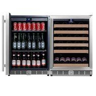 KingsBottle 2-Zone Wine and Beverage Combo Refrigerator, Holds 300 Cans and 98 Bottles, Stainless Steel with Glass... N13