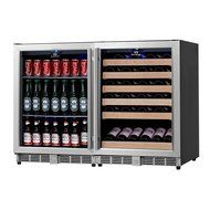 KingsBottle 2-Zone Wine and Beverage Combo Refrigerator, Holds 300 Cans and 98 Bottles, Stainless Steel with Glass... N14