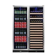 KingsBottle 2-Zone Wine and Beverage Combo Refrigerator, Holds 300 Cans and 98 Bottles, Stainless Steel with Glass... N15
