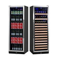 KingsBottle 2-Zone Wine and Beverage Combo Refrigerator, Holds 300 Cans and 98 Bottles, Stainless Steel with Glass... N17
