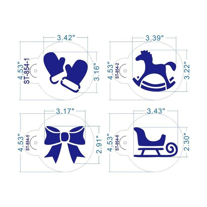 ART Kitchenware 8pcs Christmas Cookie Stencil Set Icing Royal Stencil Tool Gloves, Gift Box,Sleigh,Wooden Horse...