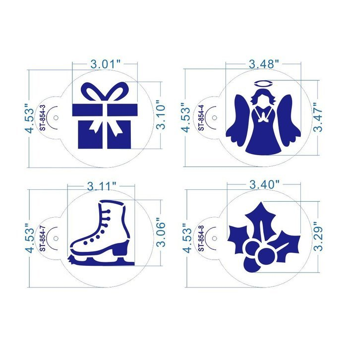ART Kitchenware 8pcs Christmas Cookie Stencil Set Icing Royal Stencil Tool Gloves, Gift Box,Sleigh,Wooden Horse... N2