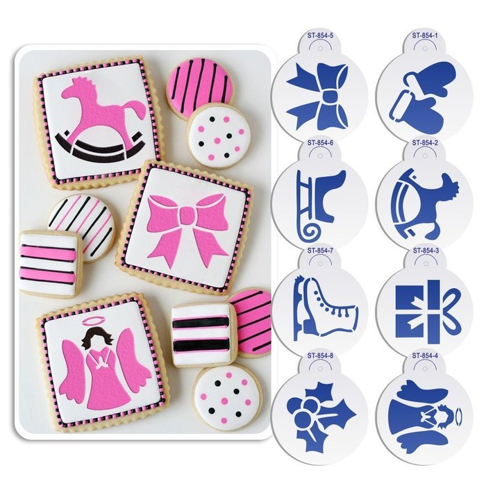 ART Kitchenware 8pcs Christmas Cookie Stencil Set Icing Royal Stencil Tool Gloves, Gift Box,Sleigh,Wooden Horse... N3