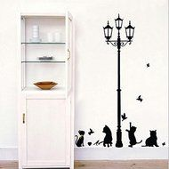 Hyalo (TM) New Hot Naughty Cats Birds and Street light Lamp Post Wall Stickers home decoation
