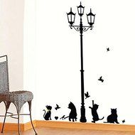 Hyalo (TM) New Hot Naughty Cats Birds and Street light Lamp Post Wall Stickers home decoation N2
