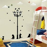 Hyalo (TM) New Hot Naughty Cats Birds and Street light Lamp Post Wall Stickers home decoation N3