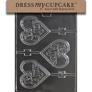 Dress My Cupcake DMCV165 Chocolate Candy Mold, Be Mine Large Heart Lollipop, Valentine's Day