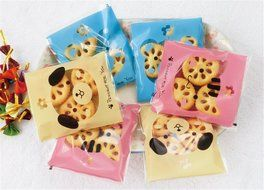 Yunko 300pcs Lovely Animals Puppy Cat & Bear Paw Self-adhesive Candy Cookie Bags for Wedding Birthday Party Gift... N3