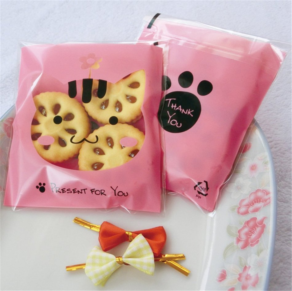 Yunko 300pcs Lovely Animals Puppy Cat & Bear Paw Self-adhesive Candy Cookie Bags for Wedding Birthday Party Gift... N4