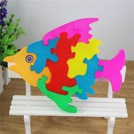 Fish Puzzles Toys ,BeautyVan Wooden Lovely Fish Blocks Puzzle Kid Educational Toy Cartoon N3