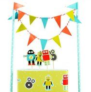 Colorful Funny Cartoon Robot Cake Garland Bunting Flag Toothpicks Toppers Wrap Sets Party Favors Supplie Baby... N2