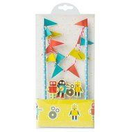 Colorful Funny Cartoon Robot Cake Garland Bunting Flag Toothpicks Toppers Wrap Sets Party Favors Supplie Baby... N3