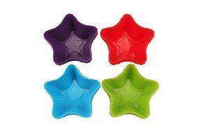 Trustworthy Buy 12-pack Reusable Silicone Star Shape Baking Cups / Cupcake Liners - Blue/Green/Red/Purple N3