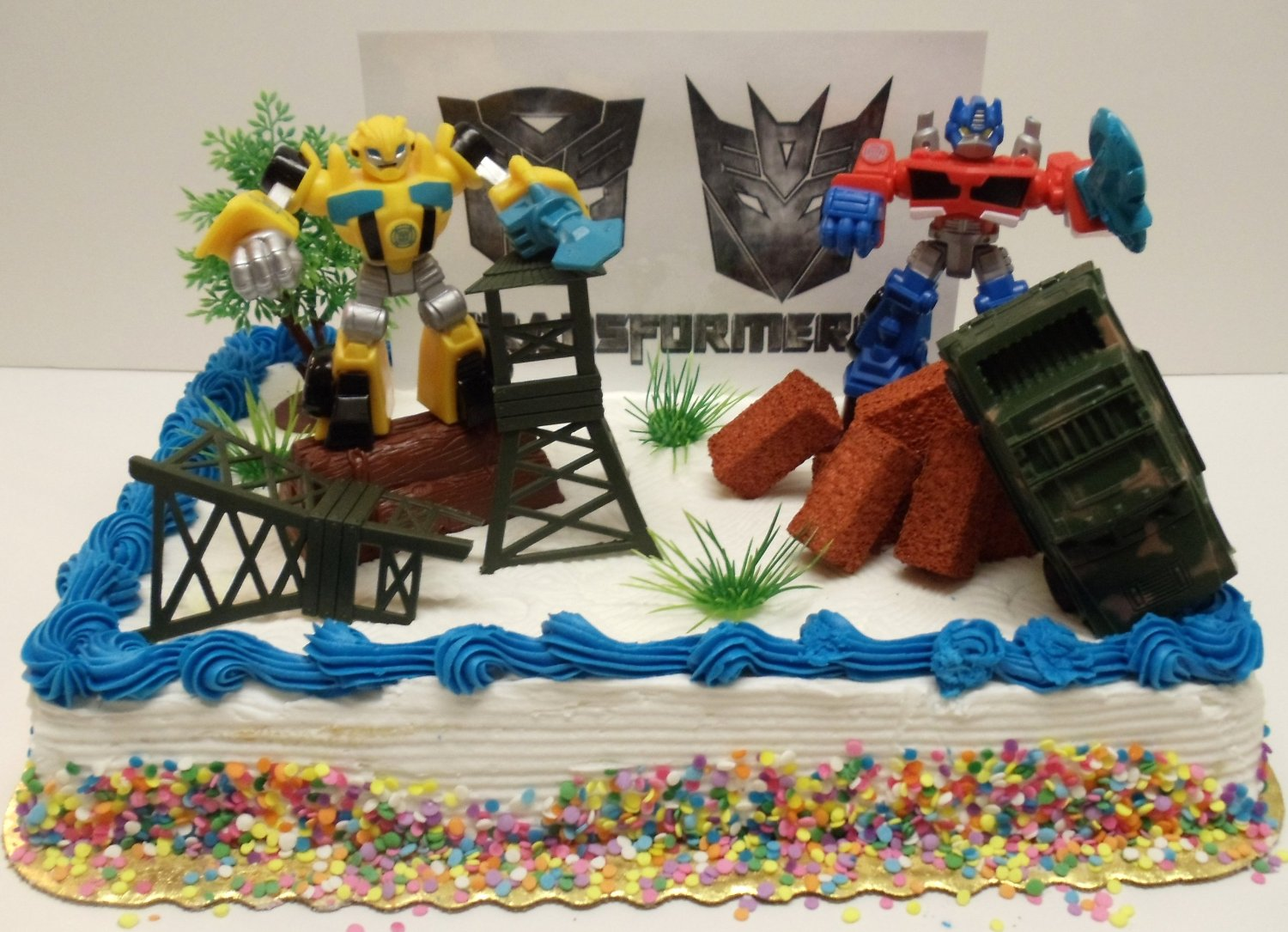 Awesome Transformers 10 Piece Birthday Cake Topper Set Featuring Bumblebee Funny Birthday Cards Online Alyptdamsfinfo