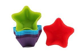 Trustworthy Buy 12-pack Reusable Silicone Star Shape Baking Cups / Cupcake Liners - Blue/Green/Red/Purple N6