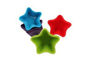 Trustworthy Buy 12-pack Reusable Silicone Star Shape Baking Cups / Cupcake Liners - Blue/Green/Red/Purple N7