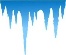 Black silhouettes of the icicles on the blue background clipart