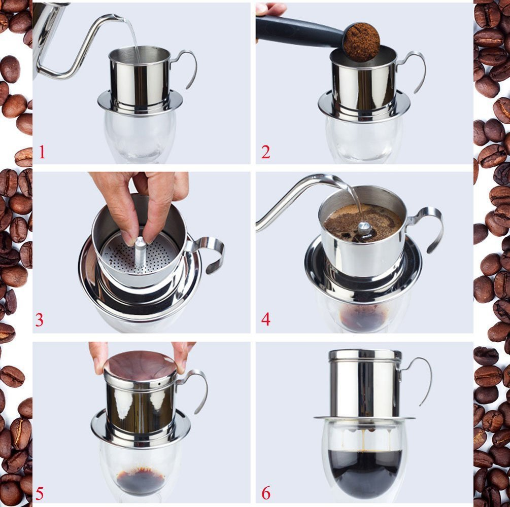 Kteam Coffee Maker Pot Stainless Steel Vietnamese Coffee Drip Filter Maker Single Cup Coffee Drip Brewer Portable N5 Free Image