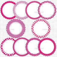 clipart of the Pink Scalloped Circles