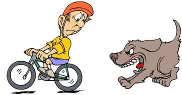 Clip art of angry dog and biker