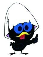 calimero, cartoon black anthropomorphized chicken, anime character