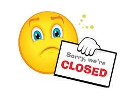 Closed sign and yellow emoticon clipart