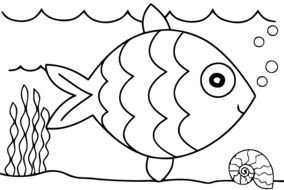 coloring page with a fish