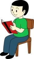 boy sitting on a chair and reading a book clipart