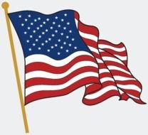 waving American flag on the white background