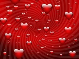 red background with Valentines hearts